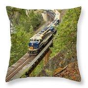 The Rocky Mountaineer Train Throw Pillow