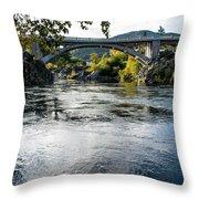 The Rogue River At Gold Hill Bridge Throw Pillow