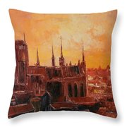 The Roofs Of Gdansk Throw Pillow