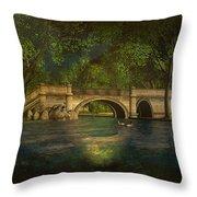 The Rose Pond Bridge 06301302 - By Kylie Sabra Throw Pillow