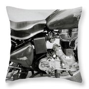 The Royal Enfield Motorbike Throw Pillow