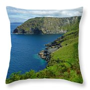 The Rugged Green Shore Throw Pillow