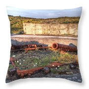 The Ruins Of A Ww2 Cannon And Bunkers Throw Pillow