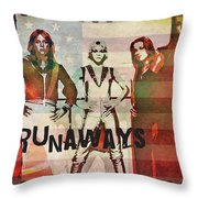 The Runaways - 1977 Throw Pillow