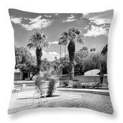 The Sandpiper Pool Bw Palm Desert Throw Pillow