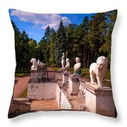 The Satutues Of Archangelskoe Palace. Russia Throw Pillow