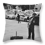 The Saxman In Black And White Throw Pillow