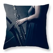The Saxophonist Sounds In The Night Throw Pillow