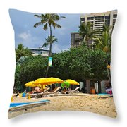 The Scene At Waikiki Beach Throw Pillow