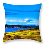 The Scenic Chambers Bay Golf Course Iv - Location Of The 2015 U.s. Open Tournament Throw Pillow by David Patterson