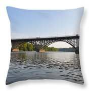 The Schuylkill River And Strawbery Mansion Bridge Throw Pillow by Bill Cannon