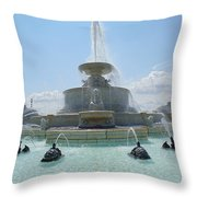 The Scott Fountain On Belle Isle Throw Pillow