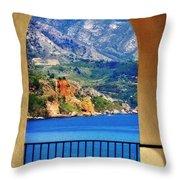The Sea Through The Portico Throw Pillow