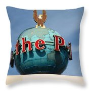 The Seattle Pi Globe Sign Throw Pillow by Kym Backland