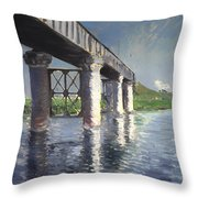 The Seine And Railroad Bridge At Argenteuil Throw Pillow