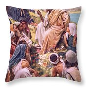 The Sermon On The Mount Throw Pillow by Harold Copping