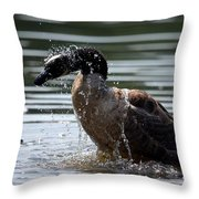 The Shake Off - Canadian Goose Throw Pillow