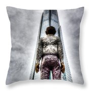 The Shard And Man Statue Throw Pillow