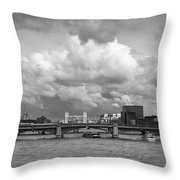 The Shard And Thames View Black And White Version Throw Pillow