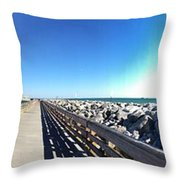 The Ship Comes Into The Port Throw Pillow