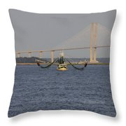 The Shrimp Boat Predator  Art Throw Pillow