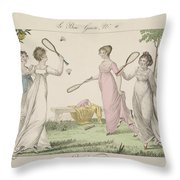 The Shuttlecock, Plate 11 From Le Bon Throw Pillow by French School