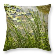 The Side Of The Lily Pond Throw Pillow