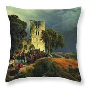 The Siege. Defense Of A Church Courtyard During The Thirty Years' War Throw Pillow