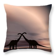 The Silhouetted Forms Of A Pair Throw Pillow