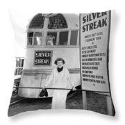 The Silver Streak Train Throw Pillow