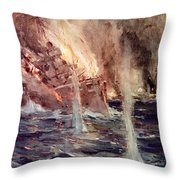 The Sinking Of The Gneisenau Throw Pillow