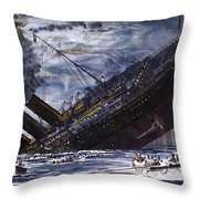 The Sinking Of The Titanic Throw Pillow