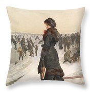 The Skater Throw Pillow by Edward John Gregory