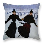 The Skaters Throw Pillow by Jean Beraud