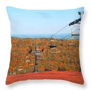 The Skiing Fields In Autumn Throw Pillow