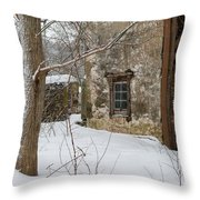 The Skis Throw Pillow