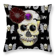 The Skull Is In Love With Cupidos Throw Pillow