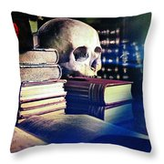 The Skull The Spell Book And The Rose Throw Pillow