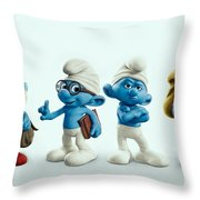 The Smurfs Movie Throw Pillow