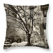 The Snow Tree - Sepia Antique Look Throw Pillow