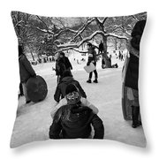 The Snowboarders Throw Pillow