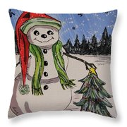 The Snowman's Tree Throw Pillow