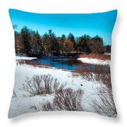 The Snowy Moose River - Old Forge New York Throw Pillow