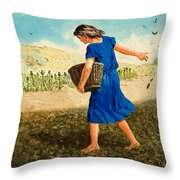 The Sower Of The Seed Throw Pillow by Clive Uptton