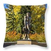 The Spartan Statue In Autumn Throw Pillow