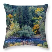 The Spokane River In The Fall Colors Throw Pillow