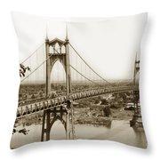 The St. Johns Bridge Is A Steel Suspension Bridge That Spans The Willamette River Throw Pillow