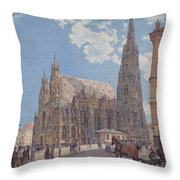 The St Stephen's Cathedral In Vienna Throw Pillow