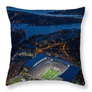 Husky Stadium At Dusk Throw Pillow