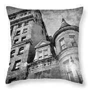 The Stafford Hotel - Grayscale Throw Pillow